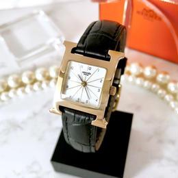 HERMES エルメス Hウォッチ ベルト2色付 ゴールド クォーツ レディース 腕時計
