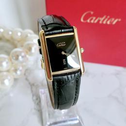 Cartier カルティエ マストタンク ブラック文字盤 クォーツ レディース 腕時計