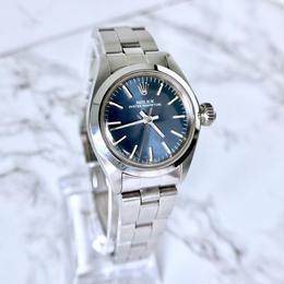 ROLEX ロレックス オイスター パーペチュアル 青文字盤 自動巻き レディース 腕時計