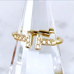 Tiffany ティファニー Tワイヤー リング ダイヤモンド K18YG 12P 8号 リング