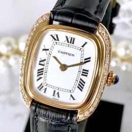 Cartier カルティエ ゴンドール K18YG金無垢 ベルト2色付き 高級天然ダイヤモンド 36P 手巻き レディース 腕時計