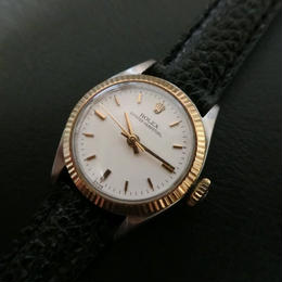 ROLEX  ロレックス  ゴールド文字盤ホワイト レザーベルト腕時計