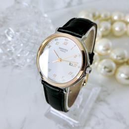 HERMES エルメス OH済 K18ベゼル コンビ  クォーツ レディース 腕時計