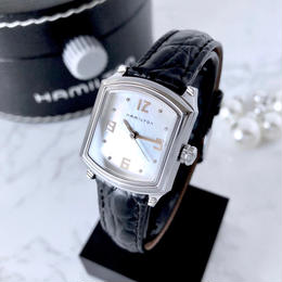 HAMILTON ハミルトン ホワイトシェル文字盤  スクエア クォーツ レディース 腕時計