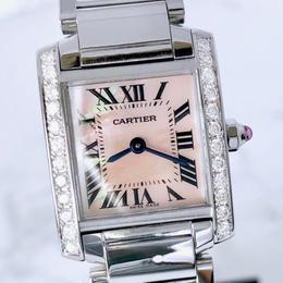 Cartier カルティエ 希少 タンク フランセーズ SM ダイヤモンド ピンク文字盤 時計