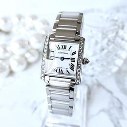 Cartier カルティエ タンク フランセーズ 天然ダイヤモンド25P クォーツ レディース 腕時計