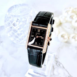 Cartier カルティエ マストタンク 天然ダイヤモンド ブラック文字盤 クォーツ レディース 腕時計