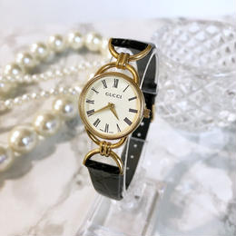 GUCCI グッチ OH済み ローマンインデックス ゴールド クォーツ レディース 腕時計