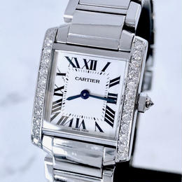 Cartier カルティエ タンク フランセーズ SM ダイヤモンド 25P 腕時計