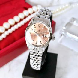 ROLEX ロレックス 6517 オイスター パーペチュアル サーモンピンク文字盤 K18WGベゼル 自動巻 レディース 腕時計