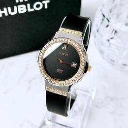 HUBLOT ウブロ クラシック 76P 天然高級ダイヤモンド コンビ デイト クォーツ レディース 腕時計