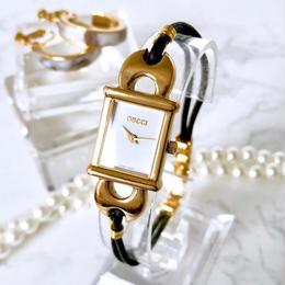 GUCCI グッチ カクテルウォッチ ゴールド 革紐  腕時計