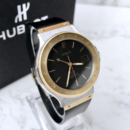 HUBLOT ウブロ GMT K18ベゼル MDM クラシック クォーツ レディース メンズ  腕時計