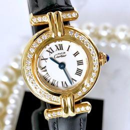 Cartier カルティエ マストコリゼ ダイヤモンド 40P GP ベルト2色付き 腕時計