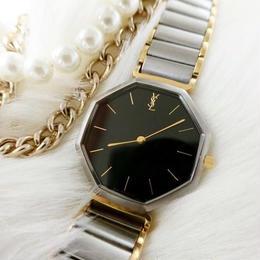 YSLイヴサンローラン 文字盤ブラック コンビベルト 腕時計