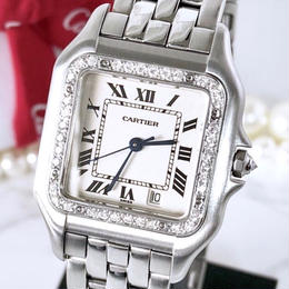 Cartier カルティエ パンテール  MM ダイヤモンド 37P シルバー クォーツ レディース 腕時計