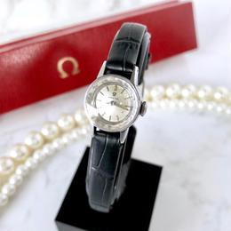 OMEGA オメガ カットガラス ベルト2色付き シルバー 手巻き レディース 腕時計