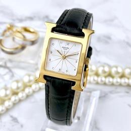 HERMES  エルメス Hウォッチ ベルト2色付 ホワイト文字盤 腕時計