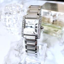 Cartier カルティエ タンク フランセーズ 25P 天然ダイヤモンド  クォーツ レディース 腕時計