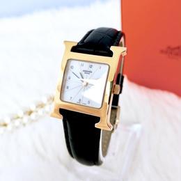 HERMES エルメス Hウォッチ ベルト2色付き ゴールド クォーツ レディース 腕時計