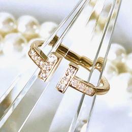 Tiffany ティファニー Tワイヤーリング K18YG ダイヤモンド 12P  8号 レディース 指輪