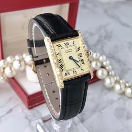 Cartier カルティエ マスト タンク 天然ダイヤモンド クォーツ レディース 腕時計