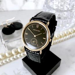 HAMILTON ハミルトン ベルト2種付き ブラック文字盤 ゴールド スモセコ  クォーツ レディース 腕時計