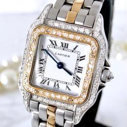 Cartierカルティエ パンテール  SM コンビ  ダイヤモンド 95P レディース 腕時計