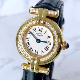 Cartierカルティエ  OH済 コリゼ ベルト2色付 ダイヤモンド 40P 腕時計