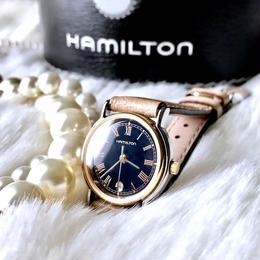 HAMILTON ハミルトン ブラック文字盤 ベルト2種付 コンビ クォーツ レディース 腕時計