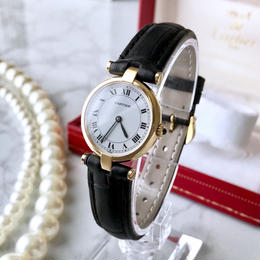 Cartier カルティエ OH済 K18ベゼル クォーツ レディース 腕時計