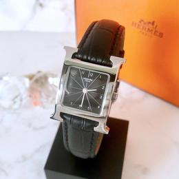 HERMES エルメス Hウォッチ ブラック文字盤 シルバー クォーツ レディース 腕時計