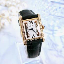 Cartier カルティエ タンク 天然ダイヤモンド30P  トリニティ文字盤  クォーツ レディース 腕時計