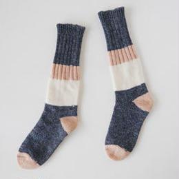 KUT1506A  ざっくり編みくつした ネップウール/ロング/ネイビー