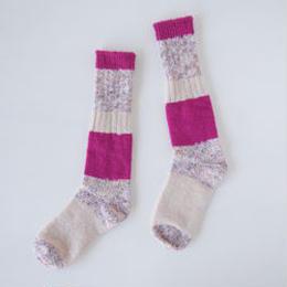 KUT1406C  ざっくり編みくつした ロング/ピンク