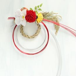 しめ縄飾り水引[銀赤]