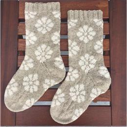 itosaku socks  花柄モチーフ編みこみ靴下キット ピンクとブルー入荷しました