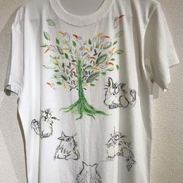 樹乃かに作品 手描きTシャツ チュンチュンツリー
