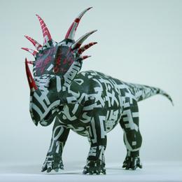 杉﨑良子作品 【パリの悪夢】 「 時を身に纏って ーシンブンシキョウリュウ」展出品 スティラコサウルス Styracosaurus