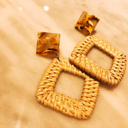 square rattan earrings