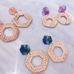 hexagon rattan earrings