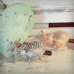 ヒトデ&貝殻のヘアクリップ