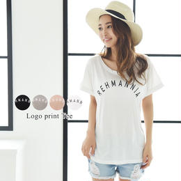 袖ロールアップロゴTシャツ