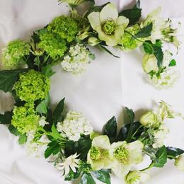 """HANISCHの三日月リース   """"Botanical Fluffy"""""""