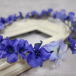 ブルーフラワー花冠*ちらしパーツ付き