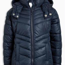ショート丈 パッド入りジャケット (7~12 歳) ネイビー