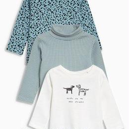 イヌ柄装飾付き Tシャツ 3枚セット (3~24か月)モノクローム