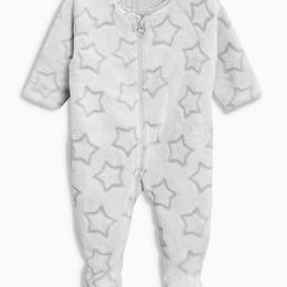 星柄ソフトフリーススリープスーツ (0~24か月)グレー