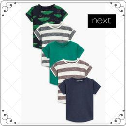 Tシャツ 5枚セット  (2~6歳)  ネイビーストライプクロコダイル