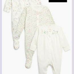 花柄&ウサギ柄 スリープスーツ 3枚セット(0~24か月)
